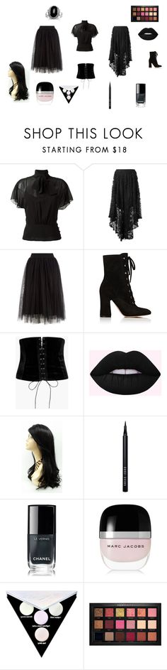 """""""Modern Victorian Gothic Girl"""" by ashpel on Polyvore featuring RED Valentino, Spell, Gianvito Rossi, Boohoo, Bobbi Brown Cosmetics, Chanel, Marc Jacobs, Kat Von D, Huda Beauty and modern"""