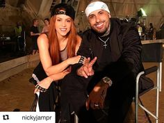 shakira:    Redheads have more fun. On the set of Perro Fiel with Nicky Jam! Shak