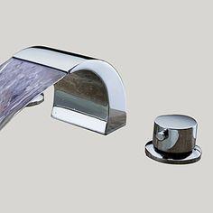 Moderni Kolmiosainen LED Vesiputous with Keraaminen venttiili Kaksi kahvaa kolme reikää for Kromi Pesuallashana
