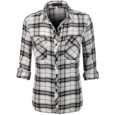 Womens Lightweight Plaid Button Down Shirt with Roll Up Sleeves (17 AUD) ❤ liked on Polyvore