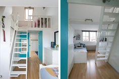 Op werkelijk schitterende en smaakvolle manier verbouwde uitgebouwde… Kids On The Block, Loft, Bed, Furniture, Home Decor, Decoration Home, Stream Bed, Room Decor, Lofts