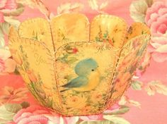 basket made from vintage greeting cards!