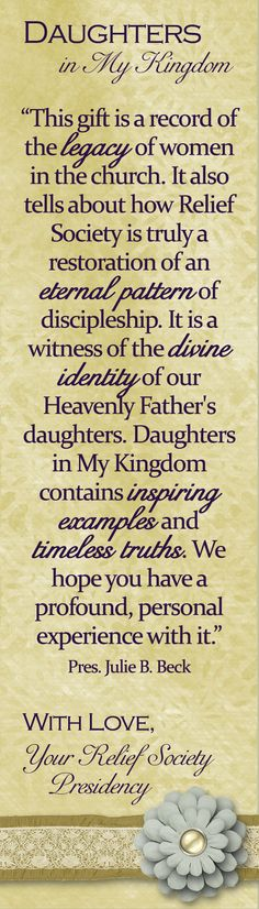 Make a bookmark for the Daughters in my Kingdom book.