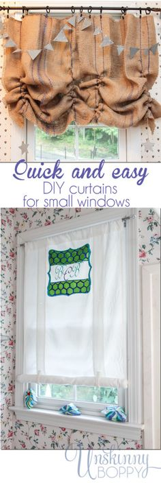 how to sew curtains (tutorial)Basement window curtainCurtain solutions for small windows - Unskinny BoppyQuick and easy DIY curtains for small windows with color and a sharpie! Small Window Treatments, Bathroom Window Treatments, Window Coverings, Small Window Curtains, Small Windows, Window Valances, Burlap Curtains, Drapes Curtains, Sewing Curtains