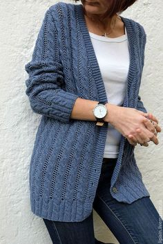 This Pin was discovered by Оль Sweater Knitting Patterns, Knitting Stitches, Knitting Designs, Knitting Yarn, Knit Patterns, Baby Knitting, Knit Cardigan Pattern, Crochet Cardigan, Knit Crochet