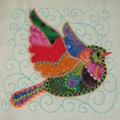crazy quilt images | Crazy Quilt Birds with Curls @ SewAZ