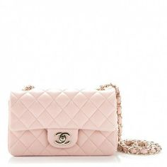 366625709080 This is an authentic CHANEL Lambskin Quilted Mini Rectangular Flap in Light  Pink. The chic
