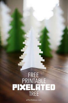 Printable pixelated tree