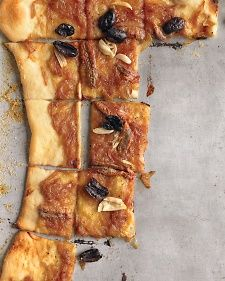 Caramelized-Onion and Olive Tart recipe: What a great party appetizer.