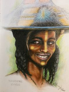 """Wodaabe- """"Nomad Warrior"""" tribe men put on a spectacular show to impress the tribe's women who can take them as their husband. African;drawing;black art; by Lawrence Parson Jr."""
