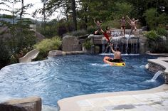 inground swimming pool waterfall pool slide patio landscape ideas