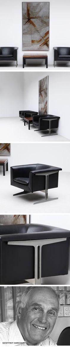 Geoffrey D. Harcourt, Rare, pair, easy chairs, 1969