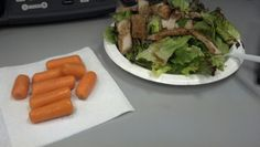 Day 7 lunch: salad with pork loin, balsamic dressing, carrots, water
