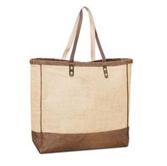 Jute Shopping tote with Leather handles
