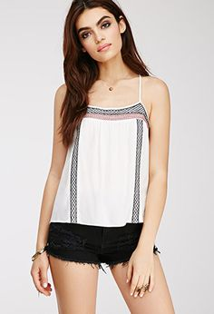 Lattice-Embroidered Gauze Cami | Forever21 - 2000079043 $22