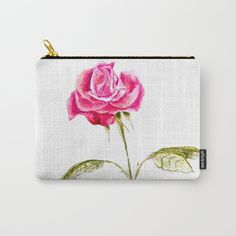 Hand drawn single rose Carry-All Pouch by wildseadesign Single Rose, Organize Your Life, Pouches, Art Supplies, Carry On, How To Draw Hands, Coin Purse, Ipad, Exterior