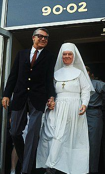 Cary Grant with a Sister of St Joseph - not sure where or when this photo was taken, but it appears they may be leaving a hospital, especially as the Sisters of St Joseph were/are a nursing order.