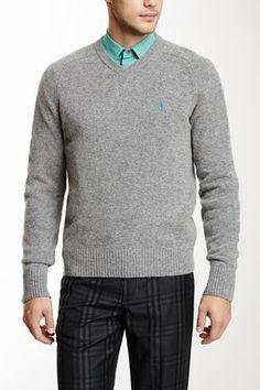 Original Penguin Hector V-Neck Long Sleeve Lambwool Sweater