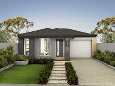Find new home designs in VIC. Refine the search and discover the best house designs & floor plans for your dream home. Modern Bungalow Exterior, Modern Exterior Doors, Modern Bungalow House, Exterior Design, Modern Front Yard, Front Yard Design, New Home Designs, Cool House Designs, Front House Landscaping