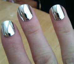 Silver mirror nail polish.