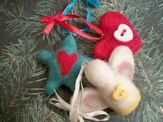 Mini Ornament Set Christmas Decor Handmade by FeltWithAHeart