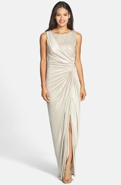 Free shipping and returns on Adrianna Papell Sequin Lace & Jersey Gown at Nordstrom.com. Sequin-sparked lace meets the rippling jersey gathered to one side of a stunning column gown complete with a gorgeous sheen and a leg-baring front slit.