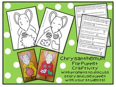 """Chrysanthemum Flip Puppet! This craftivity is in my """"Back to School Picnic"""" Unit!"""