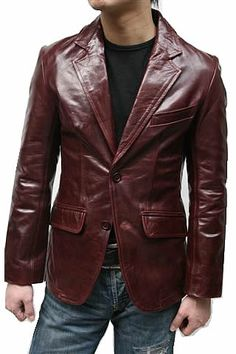 Too bad can't have multiple red leather jackets. Brown Leather Jacket Men, Leather Blazer, Leather Jackets, Leather Men, Red Leather, Blazer Jacket, Blazers, Mens Fashion, Guys