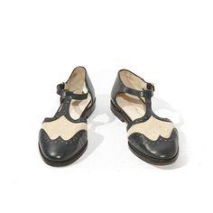 Vintage Johnston & Murphy Wingtip Brogue Sandals Navy Blue Spectator Flats Women's size 6. $58.00, via Etsy.