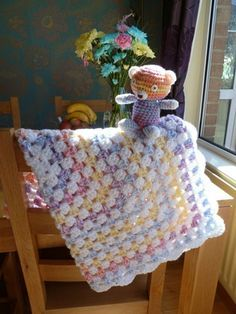 Multicoloured and white crochet baby blanket with by CraftyRedman. May have been worked with 2 strands of white yarn then dropping one strand of white and adding blue next, etc. Crochet Baby Blanket Free Pattern, Baby Afghan Crochet, Baby Afghans, Afghan Crochet Patterns, Crochet Baby Hats, Crochet Stitches, Baby Knitting, Baby Blankets, Crochet Owls