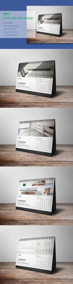 2017 Desk Calendar Design. Calendar Templates. $6.00