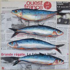 """4 Sardines coquettes sur toile marouflée journal """" Ouest France. (Modèle déposé)."""