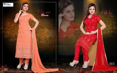 Very beautiful and stunning looking Chiffon Salwar Suit with superb thread work done with lace on hemline. Along with Santoon Bottom and Chiffon Duppatta.  A. Orange B. Red