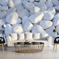 White Kieselsteine x Wallpaper East Urban Home 3d Wallpaper White, 3d Wallpaper For Walls, Royal Room, White Pebbles, Living Room Sofa Design, Wall Design, House Design, Wall Murals, Luxury Homes