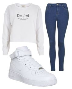 """""""Untitled #861"""" by pinkunicorn007 ❤ liked on Polyvore featuring River Island, Topshop and NIKE"""