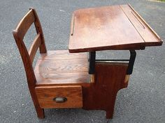 Antique School Desk with Drawer Under Seat