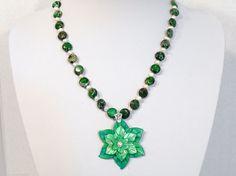 Womens Handmade Necklace Pendant and Matching Earrings Pearls Gemstone Beads #Handmade #MatchingSetNecklaceEarrings
