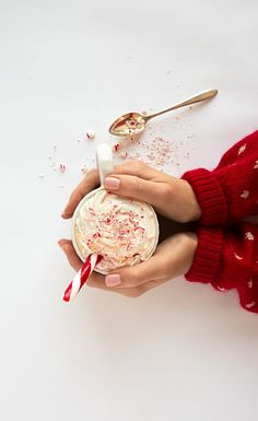A spoonful of crushed up candy cane helps the coffee go down. Loving the new Mr. Coffee® product