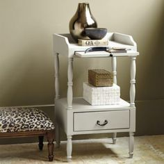 Anderson Side Table - - with a pull out shelf - - http://www.ballarddesigns.com/anderson-side-table/316947 - - $199 @ Ballard.