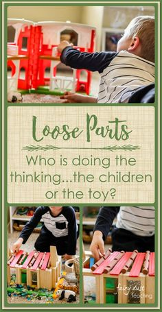 Loose Parts: Who is doing the thinking.the children or the toy? The materials you choose for your classroom provocations and invitations for play are important! How do they inspire thinking and curiosity? Play Based Learning, Learning Through Play, Early Learning, Reggio Emilia Classroom, Reggio Inspired Classrooms, Preschool Curriculum, Preschool Activities, Emergent Curriculum, Nursery Activities