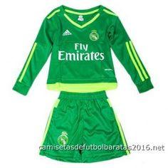 Nueva camisetas de fútbol niños portero manga larga Real Madrid 2016 verte db68731d6cd50