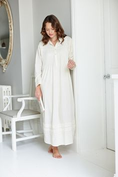 Alice Long Sleeved Nightdress is a pretty cotton nightdress that has floral  embroidery on the front fcfc11740