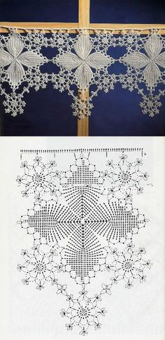Lovely snowflake filet Crochet Edging with Diagram makes a great valance for your windows. Crochet Lace Edging, Crochet Motifs, Crochet Borders, Crochet Diagram, Crochet Chart, Crochet Squares, Thread Crochet, Crochet Trim, Love Crochet