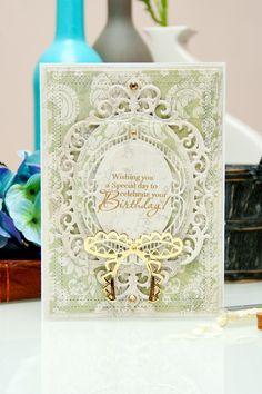 Yana Smakula | Spellbinders Birthday Card 5 x 7 Matting Basics A S6-001, 5 x 7 Matting Basics B S6-002, Fleur de Elegance S4-475, Labels Thirty Six S4-418, Bow Couture S4-449