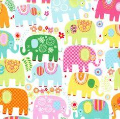 Michael Miller Fabric - Happy Elephants in Happy - By The Yard by… Tissu Michael Miller, Michael Miller Fabric, Happy Elephant, Play Houses, Yard, Kids Rugs, Playhouse Ideas, Low Stock, Elephants