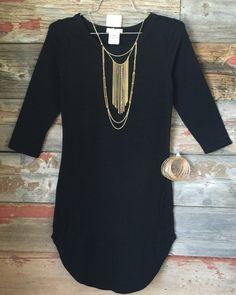 Fun in the Sun 3/4 Tunic Dress: Black