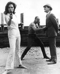 Steed & Peel: Diana Rigg and Patrick MacNee with Avengers fight coordinator Ray Austin.