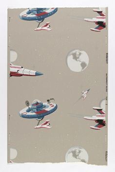 """Sidewall, """"Wallpaper with space stations and rockets"""", ca. 1950"""