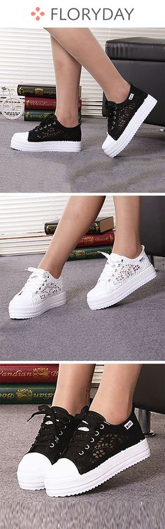 b9604d1b Hollow-out Others Platform Canvas Low Heel Shoes, hollow-out shoes, summer