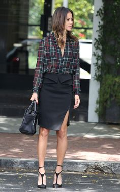 68b78881ac76 Mad for Plaid  Jamie Chung s Chiffon Blouse and Pencil Skirt Look for Less